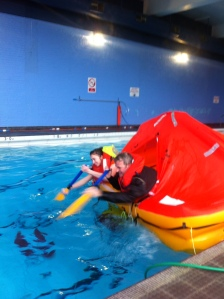 Paddling a life raft is slow...
