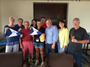 Me, Mary and Jim with the Silver Gate crew (check out the awesome hats and pennants!)